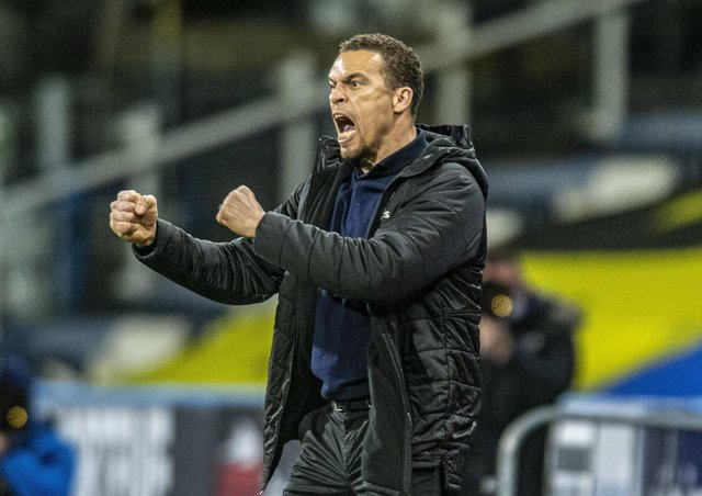 Barnsley head coach Valerien Ismael reacts to the win at Huddersfield Town (Picture: Tony Johnson)