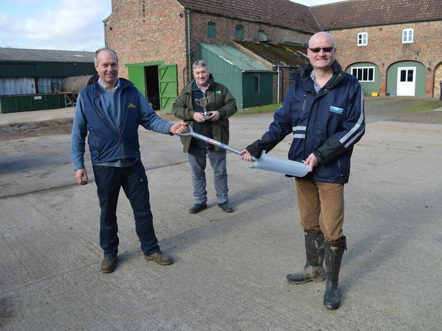 Neil, who farms at Dishforth is pictured with Andrew Walker, Asset Strategy Manager for Yorkshire Water and Clive Wood from Kings Crops who sponsored Cover Crop of the Year 2021.