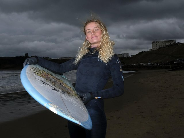 Scarborough surfer Ruby Wyborn is launching more surfing lessons for women to break down barriers and encourage sporting endeavours. Image by Richard Ponter