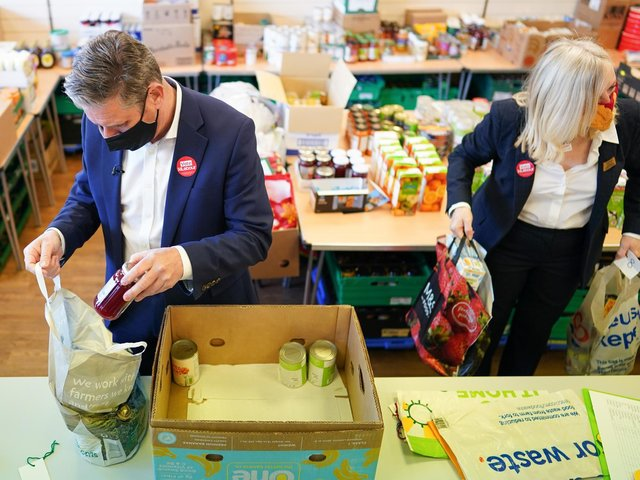 Labour leader Sir Keir Starmer and West Yorkshire Mayoral election candidate Tracy Brabin packing a box of food as he visits a food bank project at St Giles Food Share in Pontefract, West Yorkshire, during campaigning for the election for West Yorkshire mayor. Photo: PA