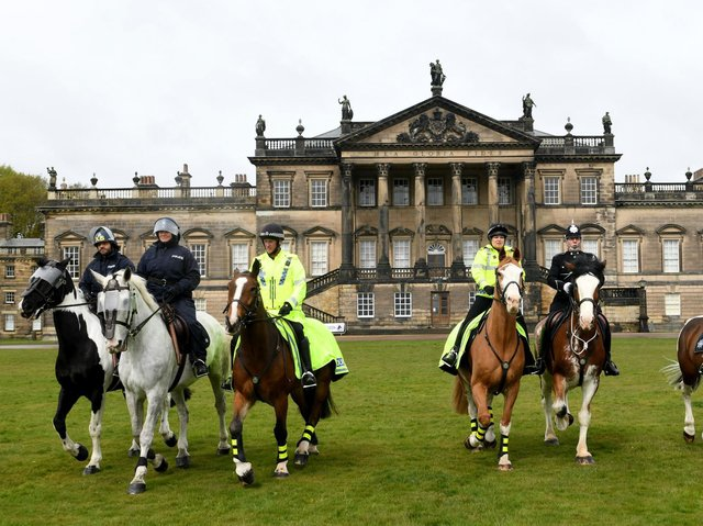 Some of the South Yorkshire Police Mounted division taking part in the Horses 4 Health baton relay at Wentworth Woodhouse.