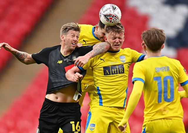 Jon Stead of Harrogate Town competes for a header with Joe Payne of Concord Rangers during the 2019/20 Buildbase FA Trophy Final between Concord Rangers and Harrogate Town at Wembley Stadium on May 03, 2021 (Picture: Justin Setterfield/Getty Images)