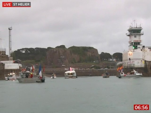 French fishing vessels staging a protest outside the harbour at St Helier. Image: BBC News