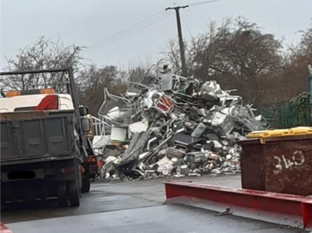 Scrap metal at the former Cooplands factory site on Wharf Road, Wheatley,