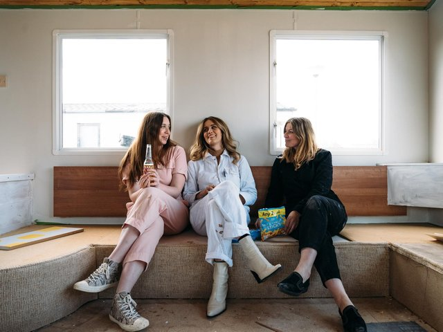 From left, Emma Jane Palin, Whinnie Williams and Anna Hart inside the caravan as the renovation gets underway. They are documenting their self-styled design ideas, inspirations and progress on Instagram.