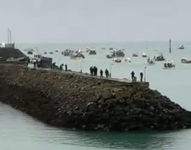 Screengrab from video courtesy of Alex Ferguson showing French fishing vessels staging a protest outside the harbour at St Helier, Jersey, Channel Islands, in a row over post-Brexit fishing rights.