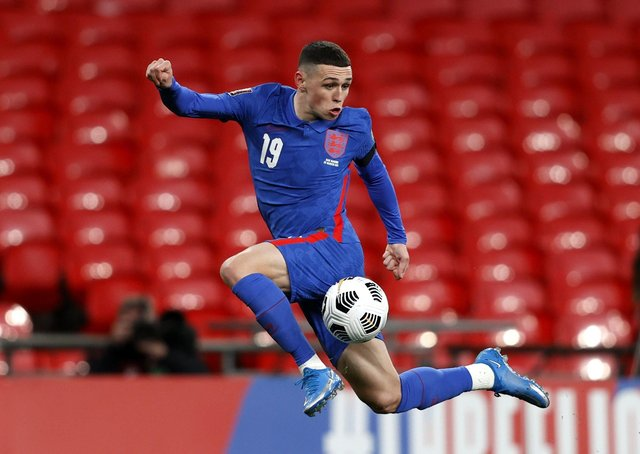 England's Phil Foden during the FIFA 2022 World Cup qualifyers.