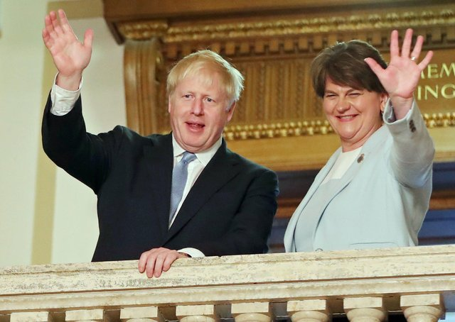 Boris Johnson with Arlene Foster, the outgoing First Minister of Northern Ireland.