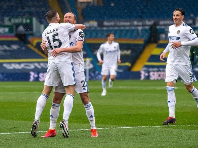 OPENER: Stuart Dallas celebrates his goal against Tottenham Hotspur. Picture: Bruce Rollinson.