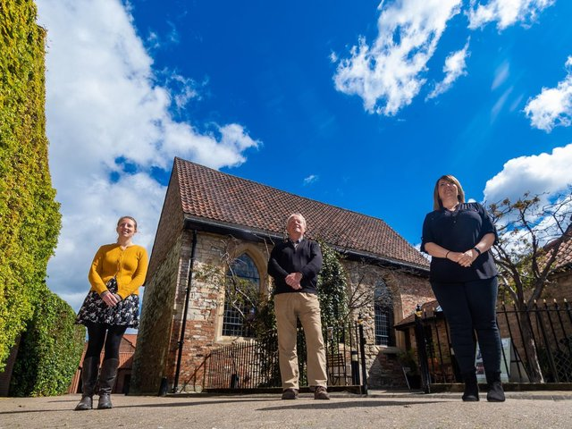 Bedern Hall, Bartle Garth, St Andrewgate, York, opens to the general public on Wednesday 19th May with a new heritage interpretation programme. Pictured (left to right) Ella Voce, Heritage Development Office for Bedern Hall, Roger Lee, Operations Director for Bedern Hall, and Elly Richmond, Bedern Hall Manager. Image: James Hardisty