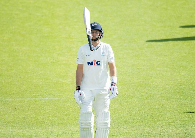 STRANGLED: Yorkshire's Joe Root shows his frustration after his dismissal against Kent. Picture by Allan McKenzie/SWpix.com