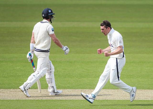 Rising star: Yorkshire's Jordan Thompson celebrates taking the wicket of Kent's Joe Denly. Picture: SWPix