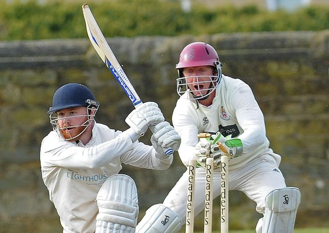 Beckwithshaw wicket keeper Callum Irvine stumps Otley batsman Sam Kellett for five runs off the bowling of Oliver Hebblethwaite (Picture: Steve Riding)