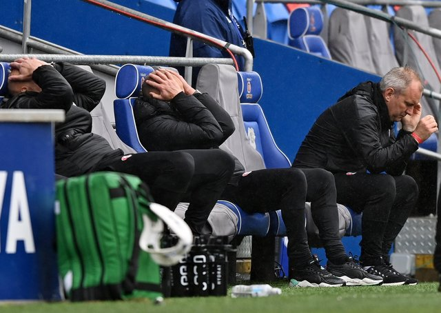 Oh no: Paul Warne reacts after Cardiff City score their equaliser. Picture: Getty Images