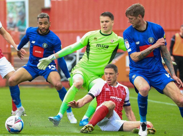 Harrogate Town suffered a 4-1 defeat to League Two champions Cheltenham on the final day of the 2020/21 season. Pictures: Matt Kirkham