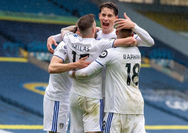 Goal: Rodrigo celebrates scoring Leeds' third goal. Pictures: Bruce Rollinson