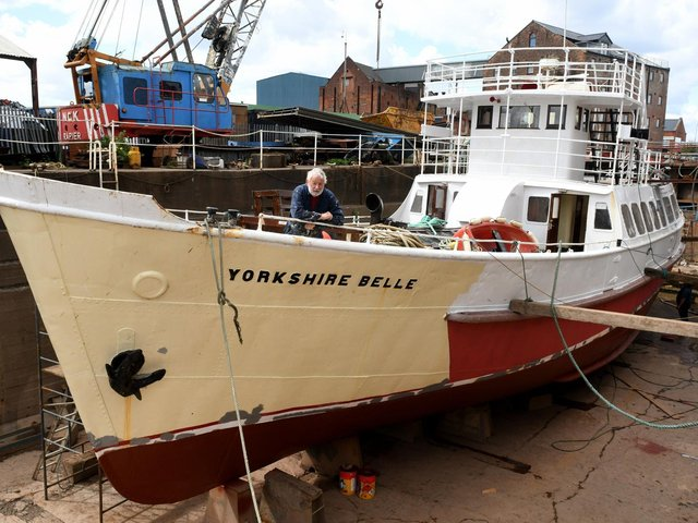 Peter Richardson, the joint owner with his son Sam, of the Yorkshire Belle on board the pleasure cruiser as undergoes annual maintenance and tests at John Dean's drydock in Hull  Picture: Gary Longbottom
