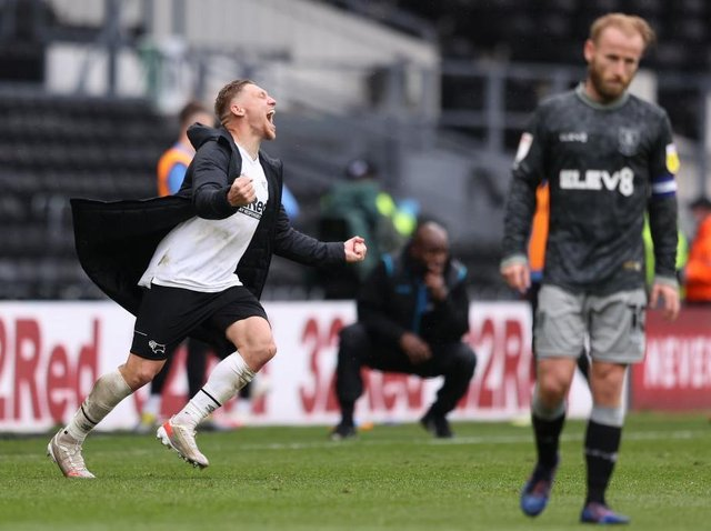 PERIPHERAL: Sheffield Wednesday captain Barry Bannan - right - was unable to exert the influence he usually can, unlike Derby County matchwinner Martyn Waghorn, left