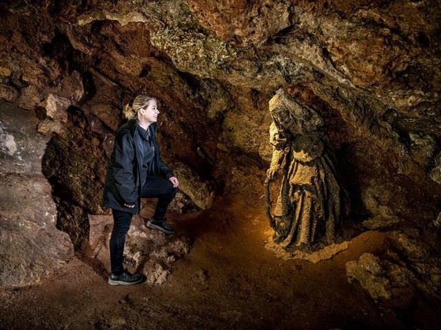 Jay Stelling at Mother Shipton's Cave in Knaresborough, which reopened last month after Covid restrictions were lifted