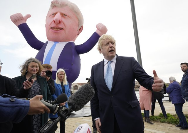 Boris Johnson during a visit to Hartlepool after the Tory party's by-election win.