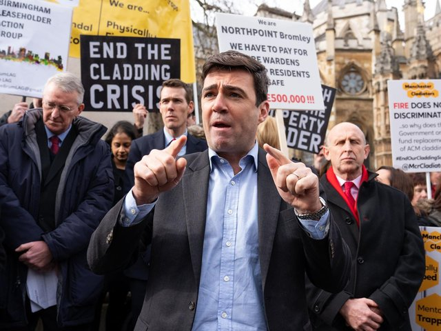 Campaigners including Manchester mayor Andy Burnham continue to fight for justice for cladding and building safety scandal victims.
