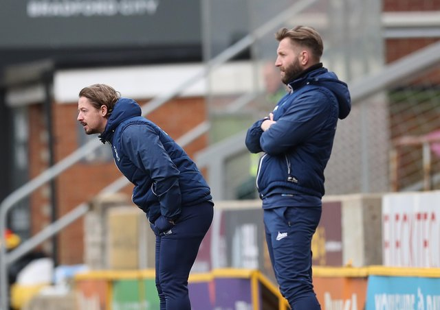 Conor Sellars, left, and fellow  joint manager of Bradford City Mark Trueman urge on their players against Oldham Athletic at Valley Parade in March. Picture: George Wood/Getty Images