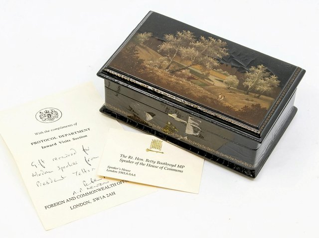 The box was given to the Yorkshire-born politician by Boris Yeltsin. (Pic credit: SWNS)