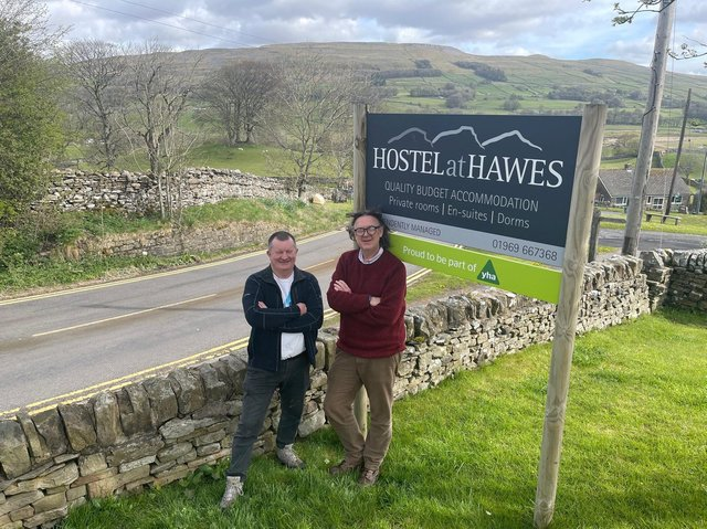 Hospitality professional Steve Bussey and David Miller at Hawes Youth Hostel