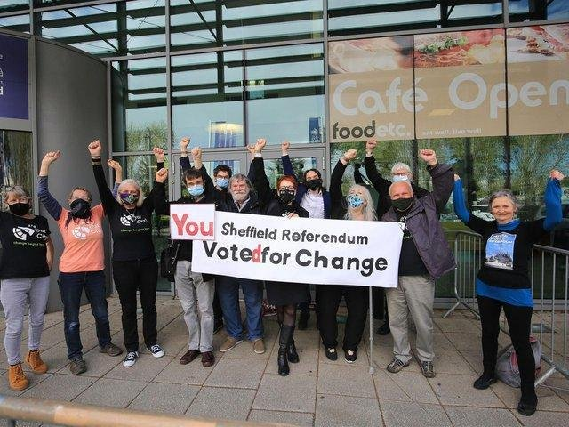 Sheffield governance referendum count. It's Our City celebrations outside the count. Picture: Chris Etchells