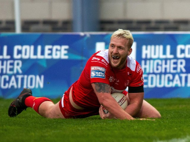 Jordan Abdull scores for Hull KR in their Challenge Cup loss to Castleford Tigers. Picture by Bruce Rollinson.