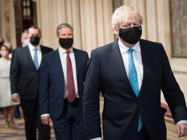 """Social care, which Boris Johnson pledged to """"fix once and for all"""" on the steps of Downing Street in 2019 was only given a brief mention in the speech, with little detail of promised reforms. Pictured: Boris Johnson leading MPs including Sir Keir Starmer into the House of Lords."""