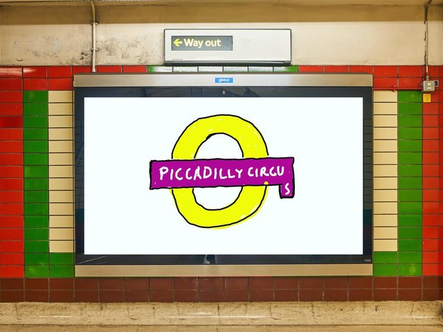 Artwork by Bradford-born artist David Hockney unveiled at London's Piccadilly Circus Tube station. Picture: Twitter/MayorofLondon