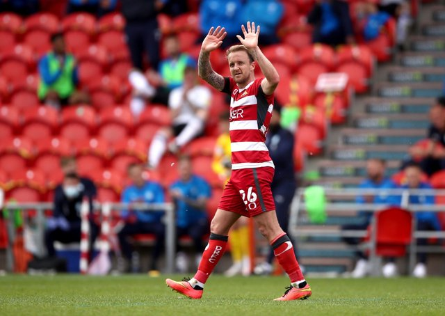 Doncaster Rovers' James Coppinger makes an emotional farewell, as he retires from playing. Picture: Tim Goode/PA