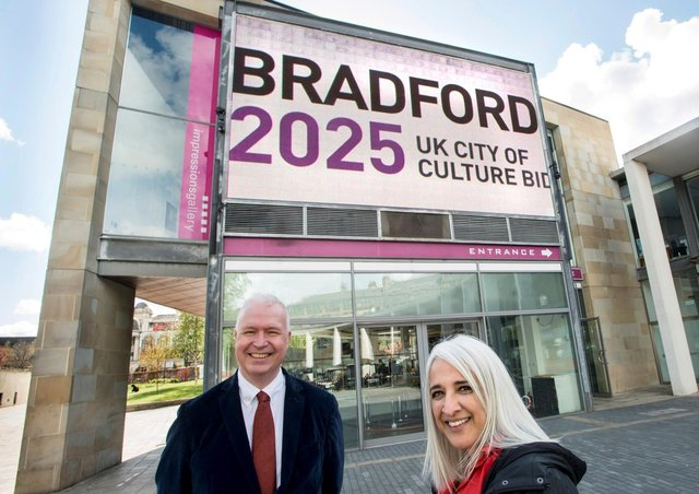 Support for Bradford 2025's City of Culture bid has been given a major boost with property investor Rushbond Plc coming on board as a founding partner.The agreed partnership includes a prime real estate deal that sees the Bradford 2025 team moving into a sought-after city centre space adjoining City Park in Bradford. Seen here are Shanaz Gulzar, Chair of Bradford 2025, with Mark Finch, real estate director of Rushbond. Picure: Tim Smith.