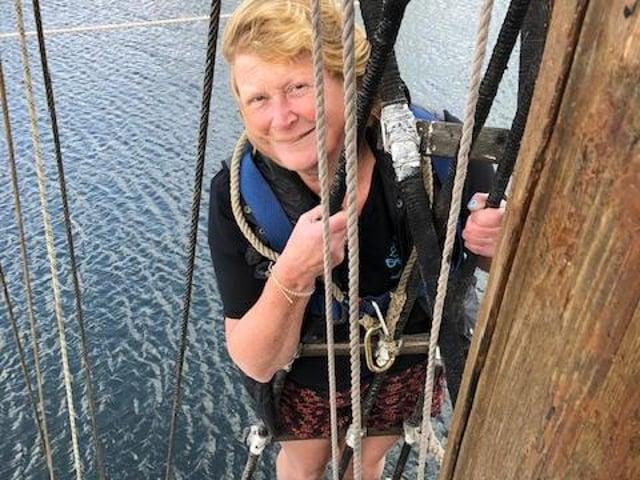 Sally Anderson on board Zebu.