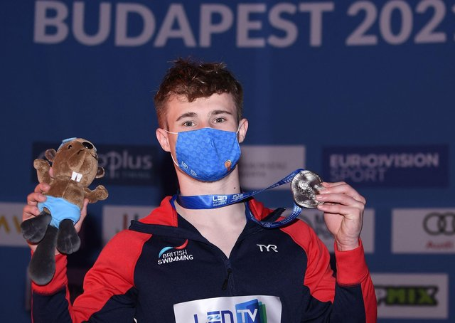 Great Britain's Jack Laugher with his silver medal after the men's 1m springboard final at the Diving event during the European Aquatics Championships. Picture: Attila Kisbenedek/Getty Images.