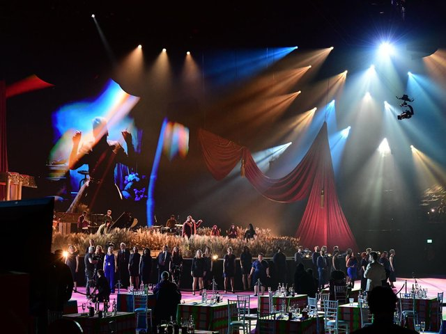 The Lewisham and Greenwich NHS Choir perform with Pink and Rag'n'Bone Man during the Brit Awards 2021 at the O2 Arena, London.