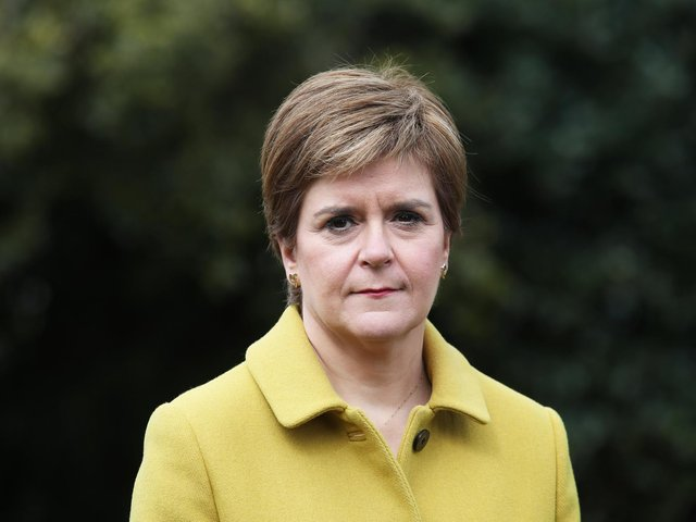 Scottish First Minister and SNP leader Nicola Sturgeon during a visit to Airdrie on May 9, 2021 in North Lanarkshire, Scotland. Photo by Andrew Milligan - Pool/Getty Images.