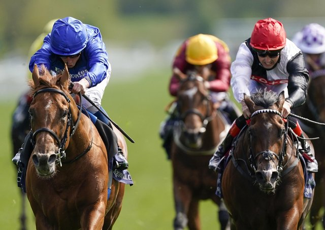 William Buick riding Hurricane Lane (left) on their way to winning the Al Basti Equiworld Dubai Dante Stakes during day two of the Dante Festival at York Racecourse.