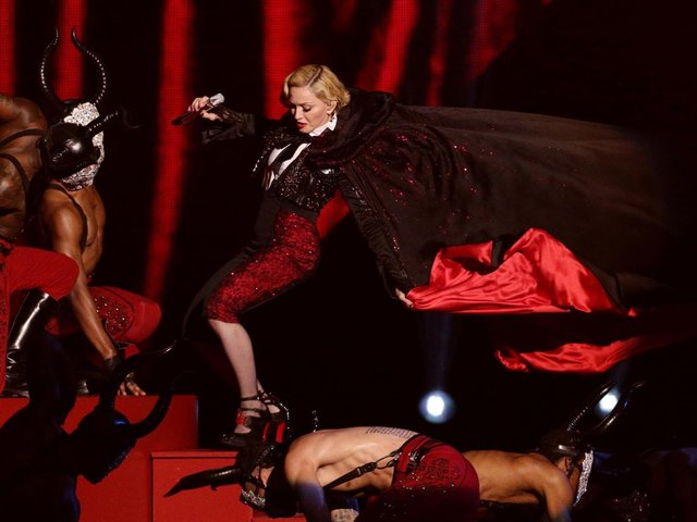 Madonna stumbles whilst performing on stage during the 2015 Brit Awards. The Brits, along with other awards shows, have been criticised recently. (PA wire).