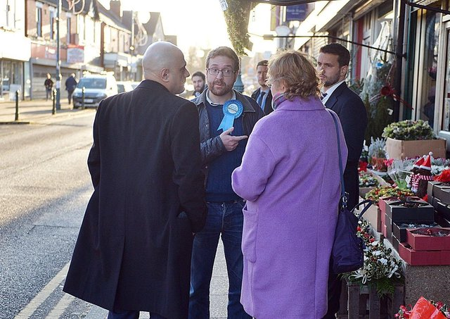 Alexander Stafford (centre) campaigning before the 2019 General Election with then Chancellor Sajid Javid.