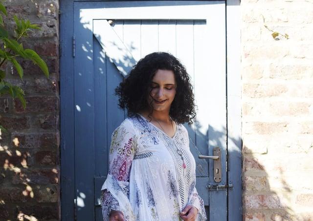 Picture by Deborah Stevenson Photography - Renee wears organic cotton Yali dress, £79, and Nila Rubia  textured organic cotton summer long jacket, £79.