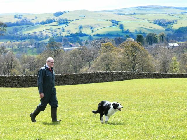 Steven Crabtree and his sheepdog Tag