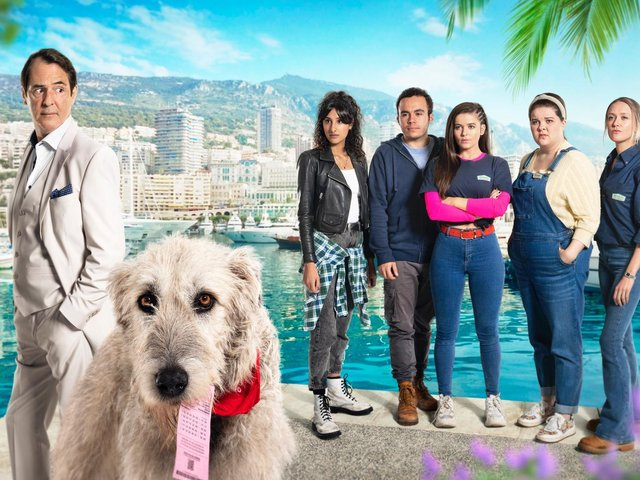 Frank in Monaco and staff from the kennels who were in hot pursuit after he stole their winning Lottery ticket
