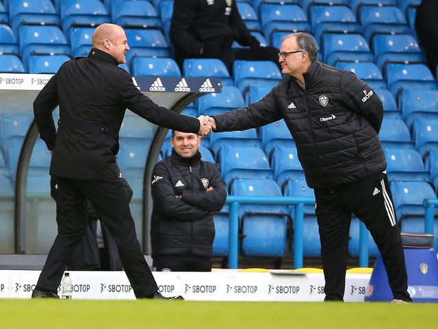RESPECT: Sean Dyche and Marcelo Bielsa. Picture: Getty Images.