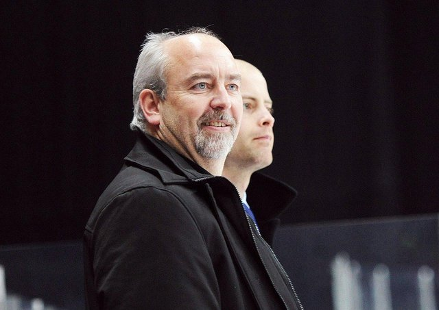NEW FACE: Dave Whistle, pictured on the bench at Cardiff in 2014, has been apppointed as head coach and GM at Leeds. Picture courtesy of Richard Murray/Cardiff Devils.
