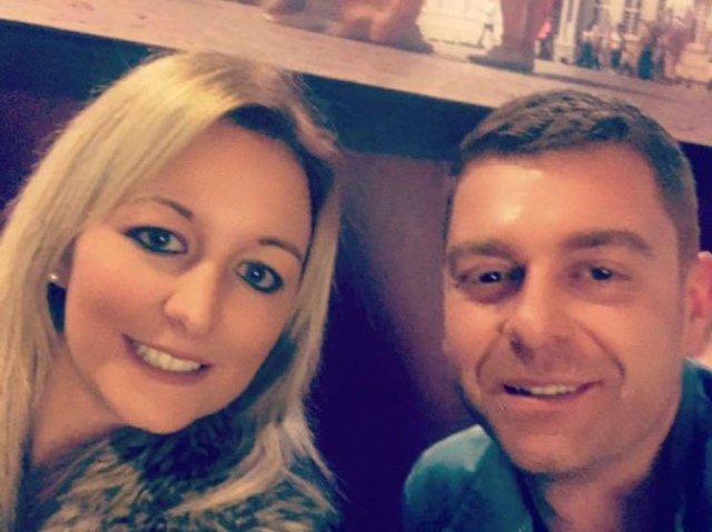 Laura Sugden with her partner Shane Gilmer, who was murdered with a crossbow in 2018
