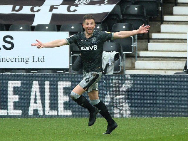 GOAL: Sam Hutchinson celebrates opening the scoring in Sheffield Wednesday's final game of the 2020-21 season but ultimately it was not enough to avoid relegation