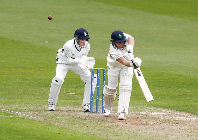 Debutant: Harry Duke behind the stumps for Yorkshire in Cardiff. Picture: John Heald
