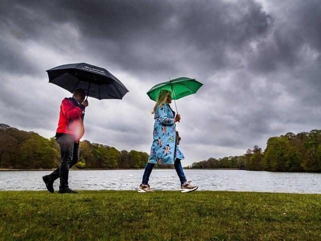 Rain at Roundhay Park, Leeds.